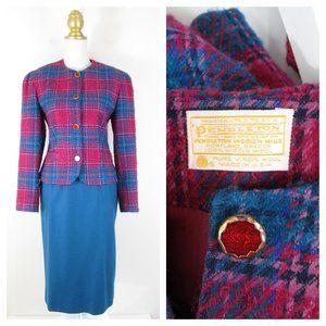 Vintage Pendleton Pink Teal Virgin Wool Skirt Suit